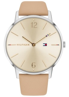 Tommy Hilfiger Women's Light Brown Leather Strap Watch 40mm, Created for Macy's