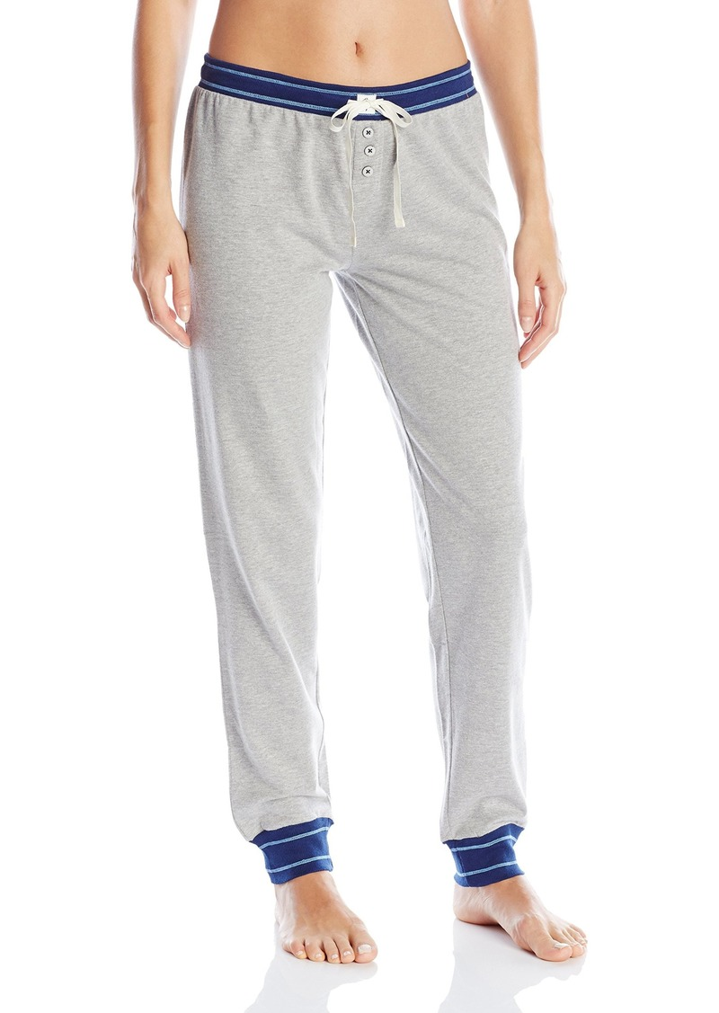 Tommy Hilfiger Women's Logo Jogger Sweatpant Lounge Pant Bottom Pajama Pj Heather Grey with Blue Rib XS