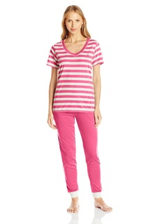 Tommy Hilfiger Women's Logo T-Shirt Top and Jogger Pant Bottom Set Oatmeal Stripe Short Sleeve Pink