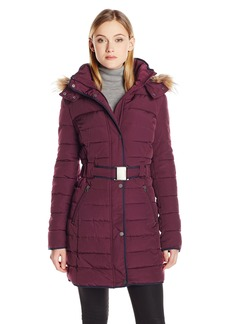 Tommy Hilfiger Women's Long Belted Down Alternative Coat with Fur Trim Hood