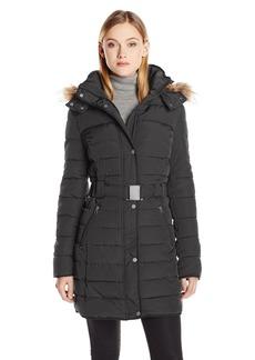 Tommy Hilfiger Women's Long Belted Down Alternative Coat with Fur Trim Hood