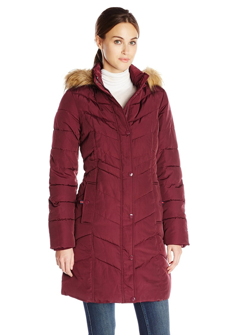 cb235fd47 Women's Long Chevron Quilted Down Alternative Coat with Fur Trim Hood