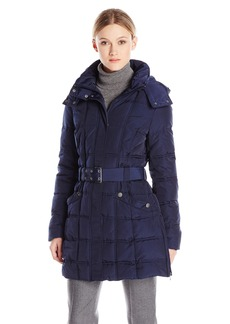 Tommy Hilfiger Women's Long Classic Down Filled Belted Coat