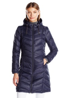Tommy Hilfiger Women's Long Hooded Packable Down Coat with Contrast Detail  S