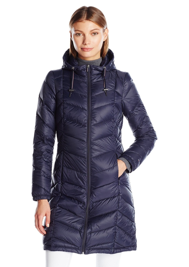 Tommy Hilfiger Women s Long Hooded Packable Down Coat with Contrast Detail S 28293ed3f0