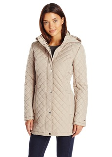 Tommy Hilfiger Women's Long Quilted Jacket with Hood  L