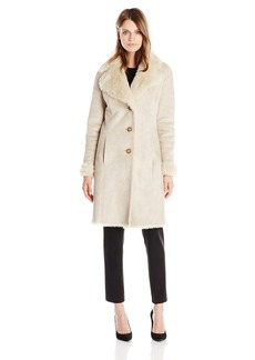 Tommy Hilfiger Women's Long Sherpa Coat with Faux Fur Lining