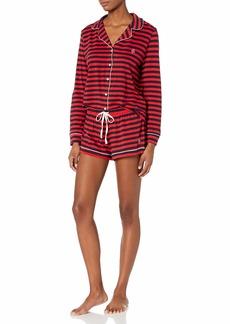 Tommy Hilfiger Women's Long Sleeve Pj Top and Short Notch Collar Pajama Set  XXL