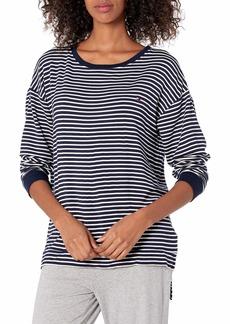 Tommy Hilfiger Women's Long Sleeve Pullover Logo Sweatshirt Pajama Top Pj