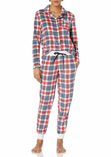 Tommy Hilfiger Women's Long Sleeve Super Soft Minky Fleece Pajama Set  L