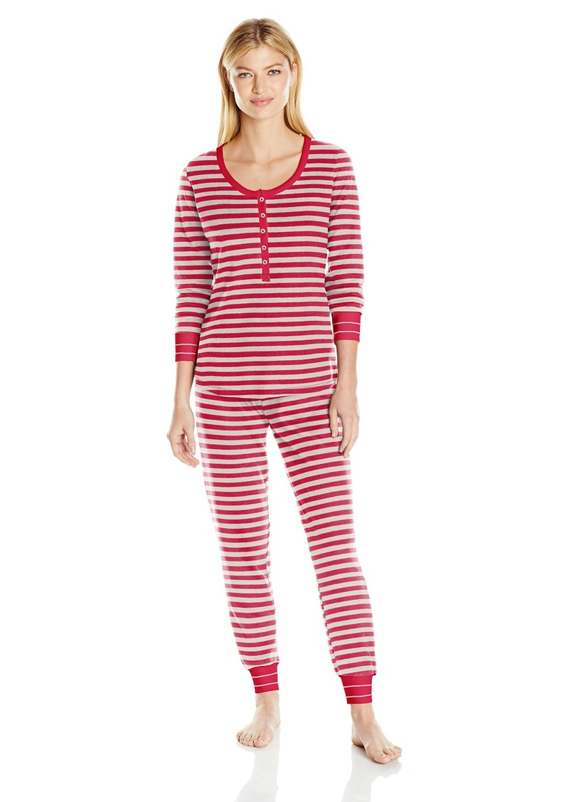 Tommy Hilfiger Women's Long Sleeve Thermal Pajama Set Pj  XL