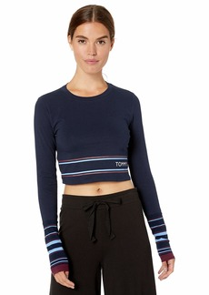 Tommy Hilfiger Women's Long T-Shirt Pajama Top Pj Navy Blue/red Sleeve