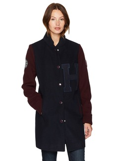 Tommy Hilfiger Women's Long Wool Blend Varsity Jacket with Patches  SMALL