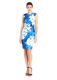Tommy Hilfiger Women's Mariposa Blues Scuba Sheath Dress Ocean Multi