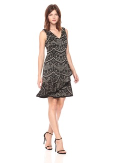 Tommy Hilfiger Women's Metallic Floral Knit V Neck Dress with Layered Flounce Hem