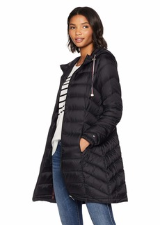 Tommy Hilfiger Women's Mid Length Chevron Quilted Packable Down Jacket black