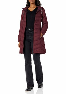 Tommy Hilfiger Women's Mid Length Chevron Quilted Packable Down Jacket Purple