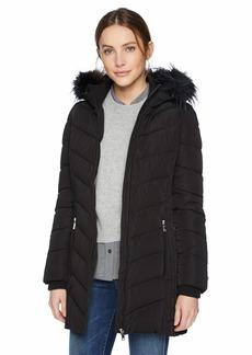Tommy Hilfiger Women's Mid Length Down Alternative Jacket with Faux Fur Trim Hood black 18 L