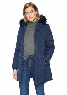 Tommy Hilfiger Women's Mid Length Down Alternative Jacket with Faux Fur Trim Hood navy 18 M