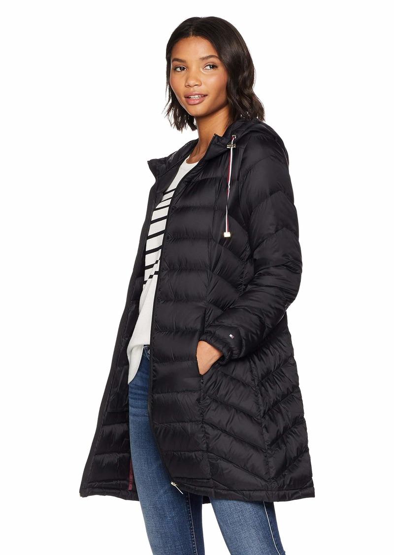 Tommy Hilfiger Women's Mid Length Packable Down Chevron Quilt Coat  S