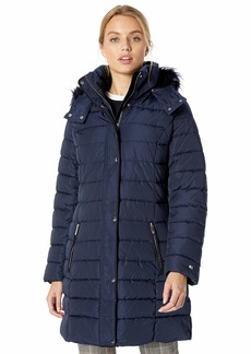 Tommy Hilfiger Women's Midlength Puffer Jacket with Faux Fur Trimmed Hood  XXS