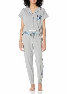 Tommy Hilfiger Women's Mixed Plaid Notch Collar Pajama Top & Bottom PJ Set  L