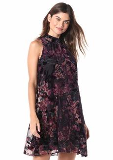 Tommy Hilfiger Women's Mock Neck Chiffon Trapese Dress