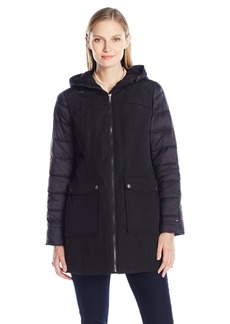 Tommy Hilfiger Women's Multi-Media Parka with Puffer Sleeves  XL