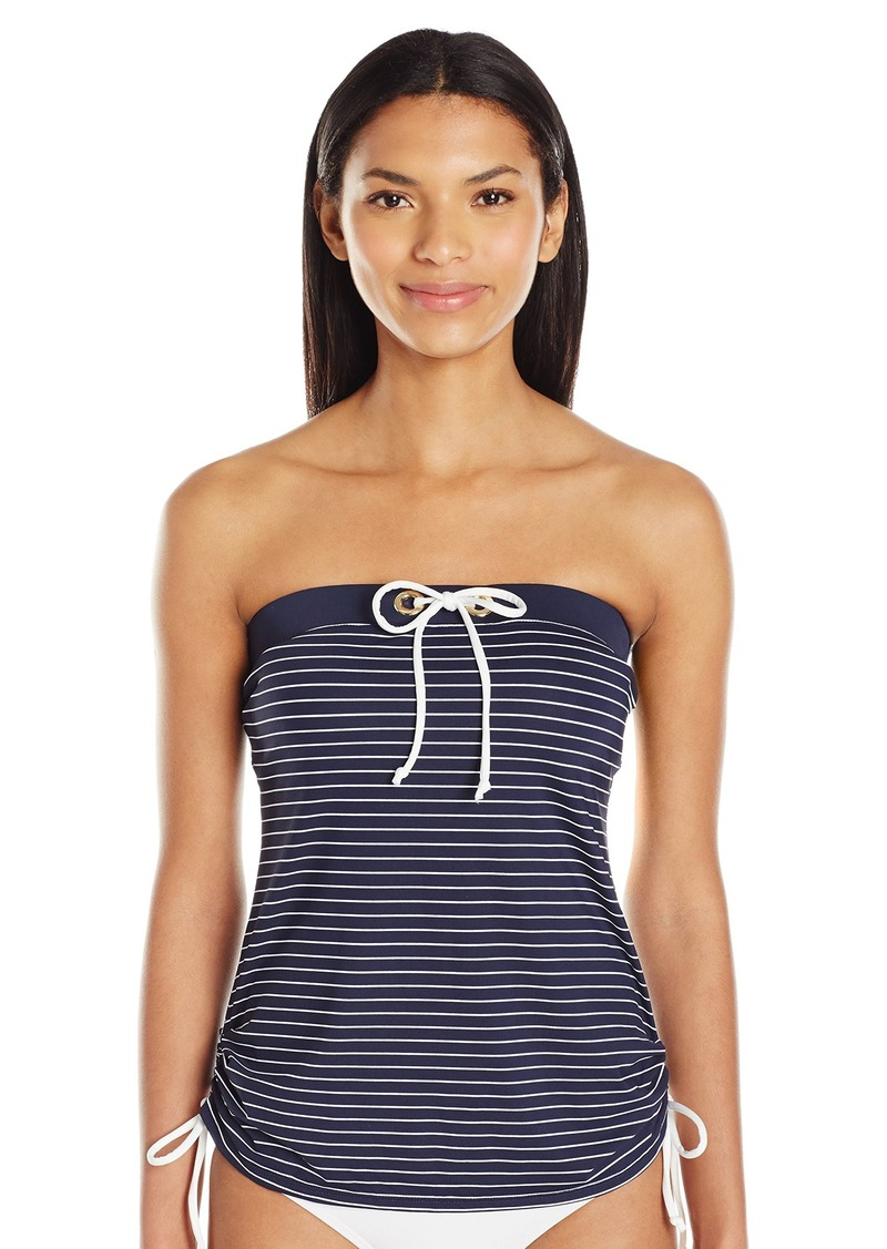 d125cb6ed2114 Tommy Hilfiger Women's New England Stripe Bandeau Tankini with Ties XS