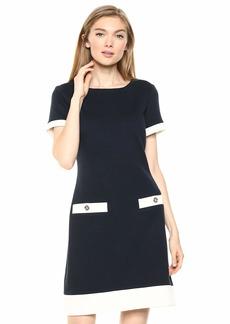 Tommy Hilfiger Women's Pique Knit Pocket Dress Sky Captain/Ivory