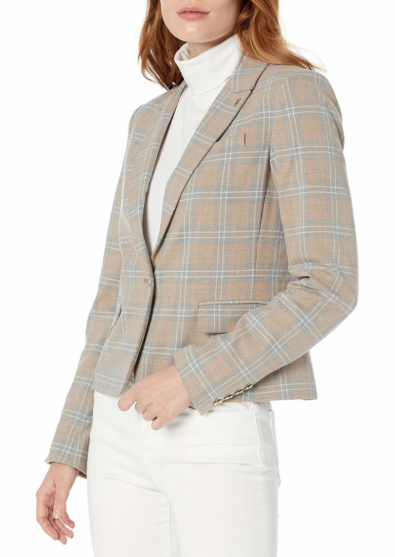 Tommy Hilfiger Women's Plaid One Button Blazer
