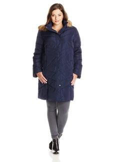 Tommy Hilfiger Women's Plus-Size Chevron Down Coat with Fur Trim Hood
