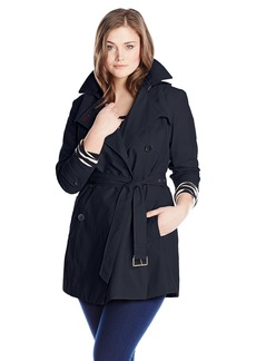 Tommy Hilfiger Women's Plus-Size Trench Coat with Striped Belt