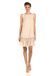 Tommy Hilfiger Women's Polka Dot Chiffon Ruffled Hem Dress