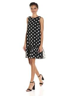 Tommy Hilfiger Women's Polka Dot Chiffon Ruffled Hem Dress