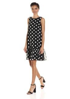 Tommy Hilfiger Women's Polka Dot Chiffon Ruffled Hem Dress Black/Ivory
