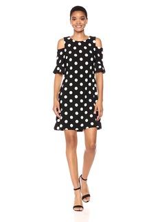 Tommy Hilfiger Women's Polka-Dot Cold Shoulder Jersey Dress Black/Ivory