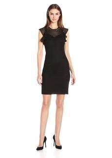 Tommy Hilfiger Women's Poly Lace Flutter Sleeve Dress