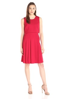 Tommy Hilfiger Women's Pop Over Dress with Pleated Skirt