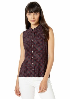Tommy Hilfiger Women's Printed Colored Button Down Sleeveless Knit