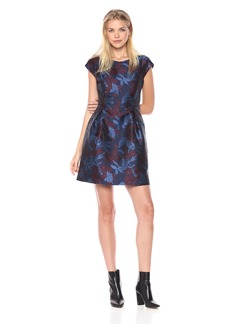 Tommy Hilfiger Women's Printed Jaquard Cap Sleeve Dress