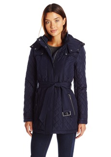 Tommy Hilfiger Women's Quilted Jacket with Tie Waist and Removable Hood  S