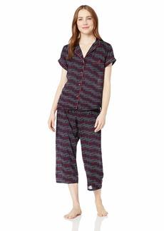 Tommy Hilfiger Women's Rayon Girlfriend Notch Collar Pajama Set Pj Apple red/Navy Blazer Blue Drop Shadow Logo Print