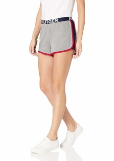 Tommy Hilfiger Women's Retro Style Lounge Short Bottom with Hilfiger Waistband Logo Band Heather Grey with Navy Blazer Blue Apple Red S