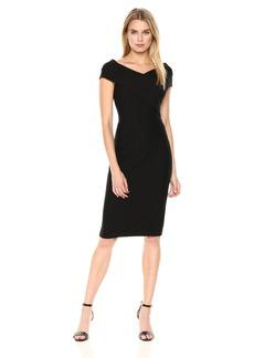 Tommy Hilfiger Women's Ribbed Ponte Criss Cross Top Sheath Dress