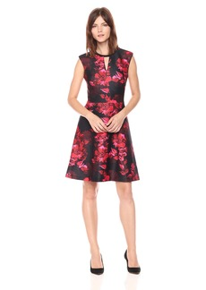 Tommy Hilfiger Women's Romance Print Cap Sleeve Dress with V Neckline