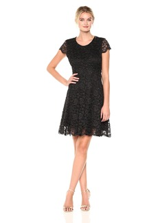 Tommy Hilfiger Women's Rose Lurex Lace Dress With Cap Sleeve