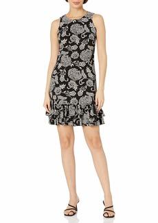 Tommy Hilfiger Women's Round Neck Dress Black/Parchment Multi
