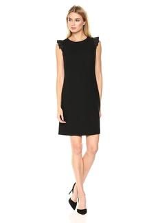Tommy Hilfiger Women's Satin Back Crepe Flutter Sleeve Dress