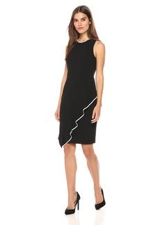 Tommy Hilfiger Women's Scuba Crepe Assymetrical Flounce Hem Dress